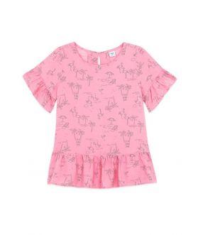เสื้อเบลาส์แต่งระบายเด็กผู้หญิง พิมพ์ลาย
