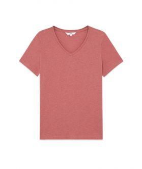 เสื้อยืดคอวีผู้หญิงทรงหลวม สีพื้น