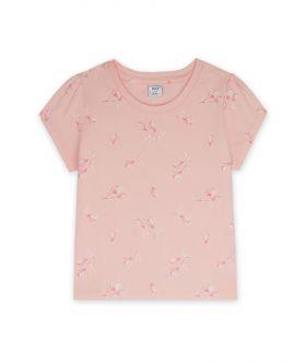เสื้อยืดเด็กผู้หญิง ผ้าคอตตอน พิมพ์ลาย